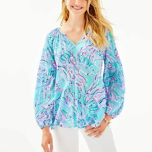 Lilly Pulitzer Bayside Blue Winsley Summer Top
